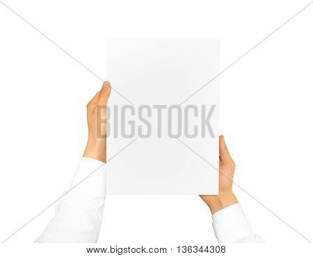 Hand holding blank paper sheet in the hand. Corporate letterhead presentation. Letter hand man. Man show company blank identity. Message in hands. Mail design. Writing card fax billhead display read.