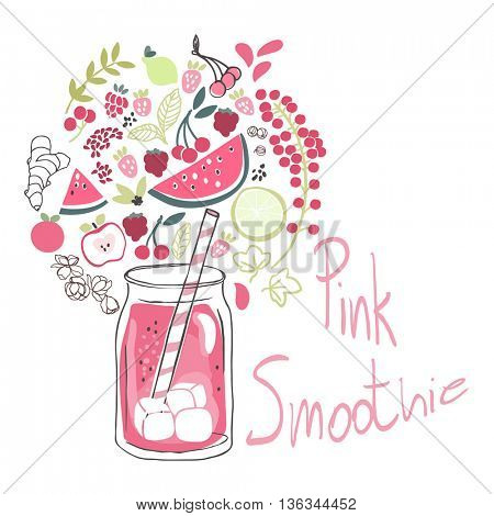 pink smoothie drink in jar and ingredients