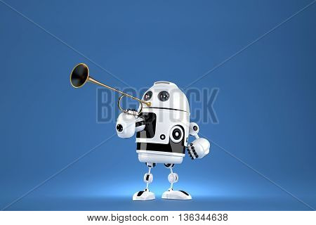 Robot with golden trumpet. 3D illustration. Proclaiming a special occasion. Contains clipping path.