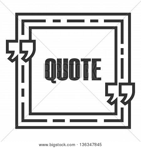 Quote sign icon. Quote blank template. Speech bubble template. Text excerpt. Isolated business card template paper sheet information text. Quote form.