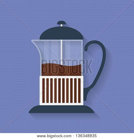 Teapot French press with tea or coffee flat icon