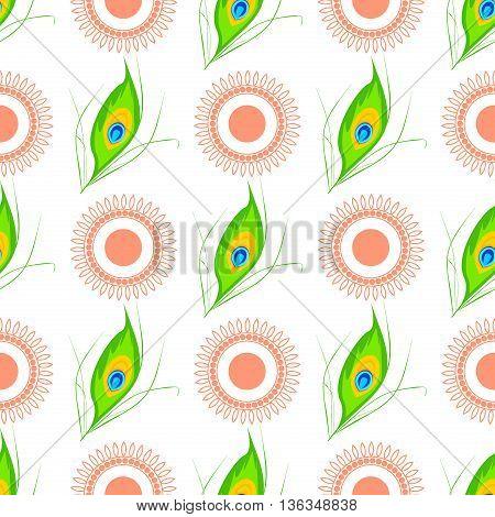 Vector illustration of Happy Janmashtami seamless pattern. Janmashtami traditional religious festival krishna hindu. Worship mythology religion janmashtami mythological bhagavan handi deity graphic.