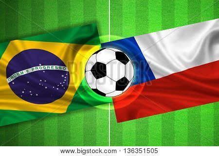 green Soccer / Football field with stripes and flags of brazil - chile and ball - 3D illustration