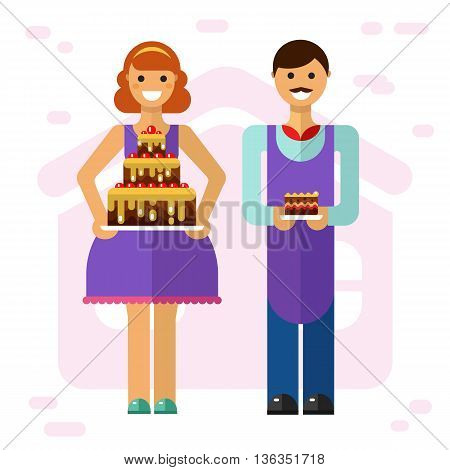 Vector flat style illustration of smiling girl with big party cake and boy with slice of cake. Confectioner and baker cooking tasty cakes concept. Taste it!