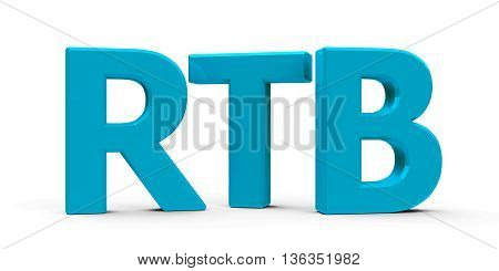 Blue RTB - Real Time Bidding - symbol icons or button isolated on white background three-dimensional rendering 3D illustration