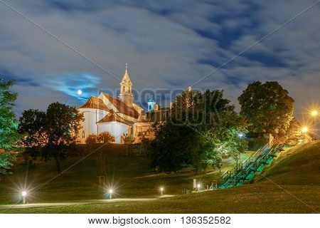 Church  San Benson in Old Town on a moonlit night. Warsaw Poland.