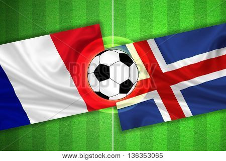 green Soccer / Football field with stripes and flags of france - iceland and ball - 3D illustration
