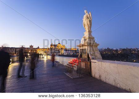 Cordoba - Spain - June 10, 2016 : San Rafael Statue Of The Roman Bridge In Cordoba - Spain