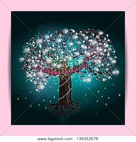 Beautiful blooming tree decorated with glowing lights and flowers
