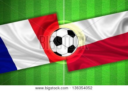 green Soccer / Football field with stripes and flags of france - poland and ball - 3D illustration