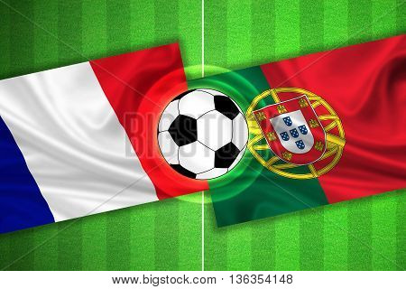 green Soccer / Football field with stripes and flags of france - portugal and ball - 3D illustration