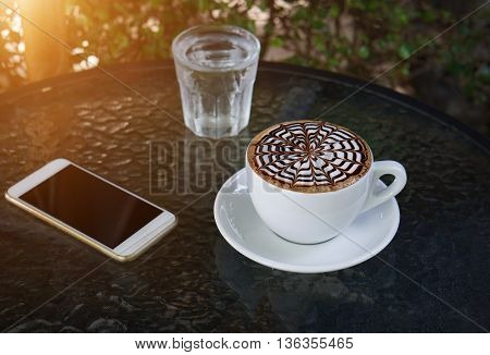 Cup Of Mocha Coffee In Coffee Shop