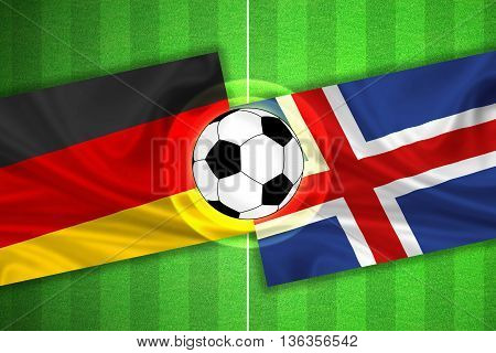 green Soccer / Football field with stripes and flags of germany - iceland and ball - 3D illustration