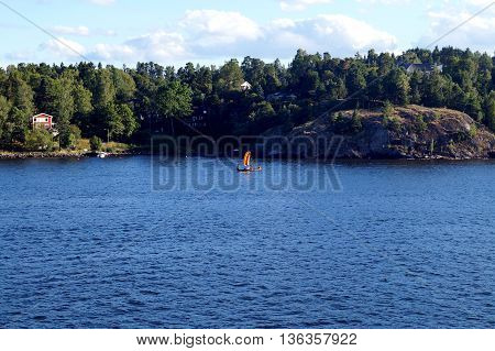 lonely old ethnic swedish boat with vikings