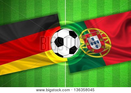 green Soccer / Football field with stripes and flags of germany - portugal and ball - 3D illustration