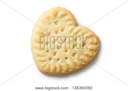 Traditional Shortbread Heart Biscuit Isolated On White From Above.