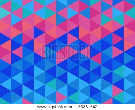 Seamless pattern with triangles in blue and pink colors
