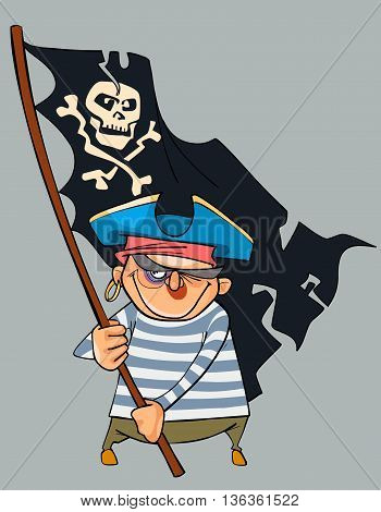 Cartoon pirate with a shiner holding a pirate flag