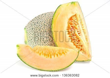 Sliced melon with seed on wooden board (Other names are Melon cantelope cantaloup honeydew Crenshaw casaba Persian melon and Santa Claus or Christmas melon)