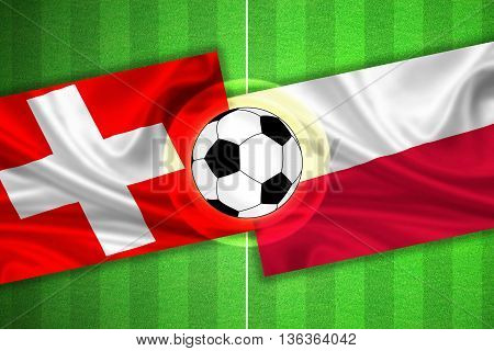 green Soccer / Football field with stripes and flags of switzerland - poland and ball - 3D illustration