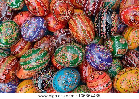 VILNIUS, LITHUANIA - MARCH 7: Hand painted colorful Easter eggs in annual traditional crafts fair - Kaziuko fair on Mar 7, 2014 in Vilnius, Lithuania