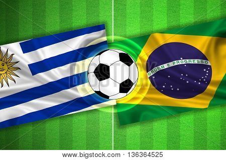 green Soccer / Football field with stripes and flags of uruguay - brazil and ball - 3D illustration