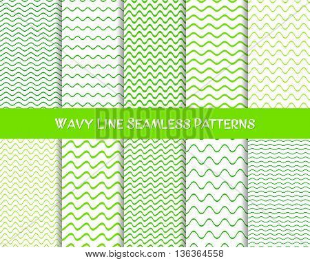 Vector wavy line seamless patterns green colors collection