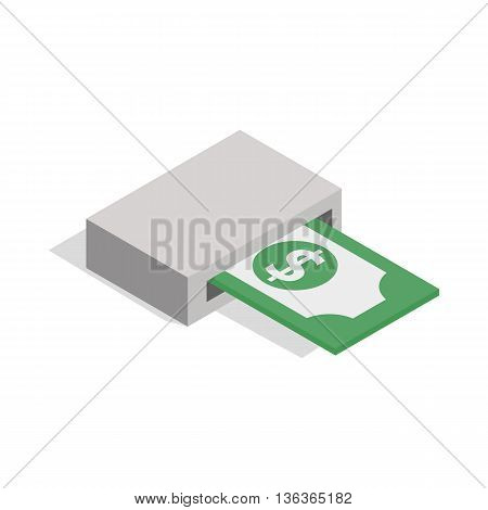 Output of banknotes from atm icon in isometric 3d style isolated on white background. Money symbol