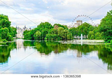 London, UK - June 21, 2016 - St. James Park in London during daytime