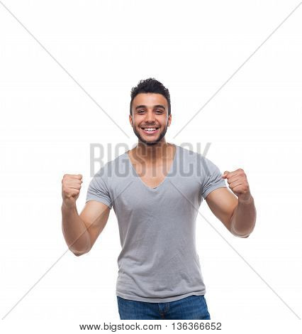 Casual Man Excited Hand Gesture Happy Smile Young Handsome Guy Wear Shirt Jeans Isolated White Background