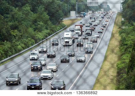 Washington, Usa - June, 23 2016 Maryland Congested Highway On Rainy Day