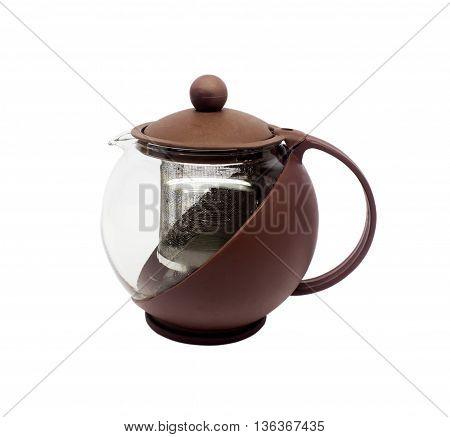 Empty glass teapot on white background texture