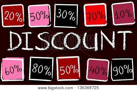 discount and different percentages - retro style red label with text and squares, business concept, vector