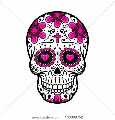 Day Of The Dead Skull. Skull sugar flower. Skull tattoo. Vector illustration