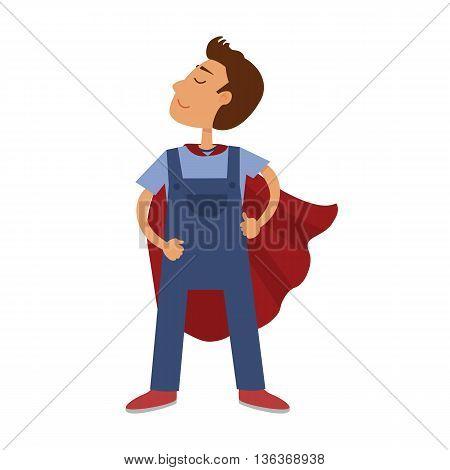 Super hero cartoon boy. Child in red cloak of superhero