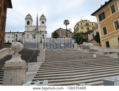 Rome, Italy 17 June 2016. Piazza di Spagna steps closed for restoration. Piazza di Spagna square is open to the public but the Spanish Steps can only be seen from a distance.