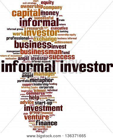 Informal investor word cloud concept. Vector illustration poster