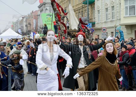 VILNIUS, LITHUANIA - MARCH 8: Unidentified peoples parade in annual traditional crafts fair - Kaziuko fair on Mar 8, 2014 in Vilnius, Lithuania