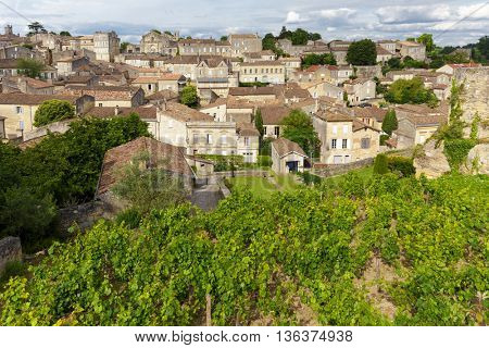 Vineyard and village in France at the famous Saint Emilion town, Unesco heritage.