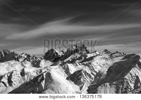Black And White Caucasus Mountains In Wind Evening