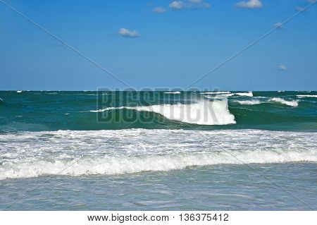 Ocean Waves in the Gulf of Mexico on the Sandy Beaches of Anna Maria Island