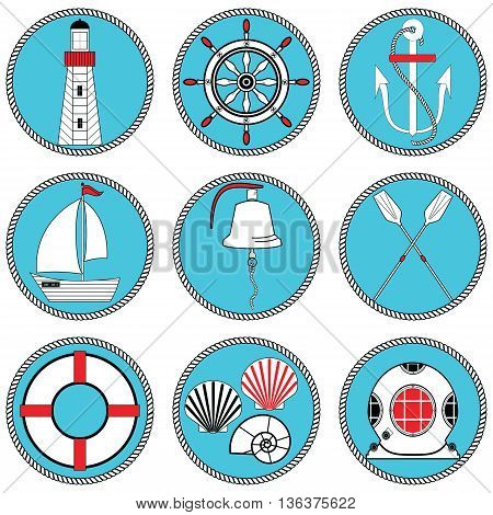 Nautical elements type 1 icons set in knotted circle including  boat bell, boat, oars, rudder, vintage diving mask, life ring, light house, sea shells and anchor