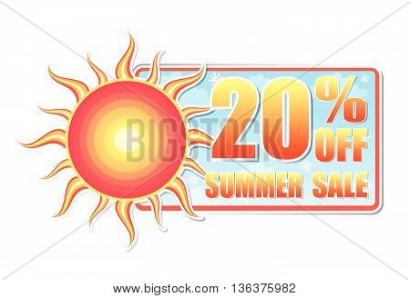 20 percentages off summer sale banner - text in blue label with red yellow sun and white daisy flowers, business concept, vector
