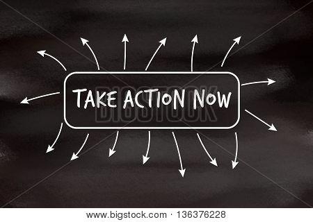Take action now motivational message written on blackboard