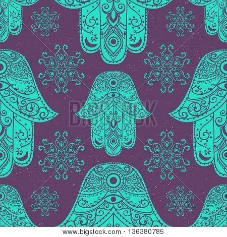 Ornament card with hamsa. Geometric circle element made in vector. Talisman ornamental hamsa, symbol Eye protection. Kaleidoscope,  medallion, yoga, india, arabic