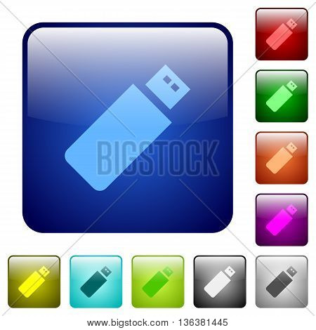 Set of pendrive color glass rounded square buttons