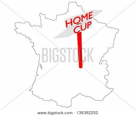 Home or Cup: guidepost with map of France 3d illustration