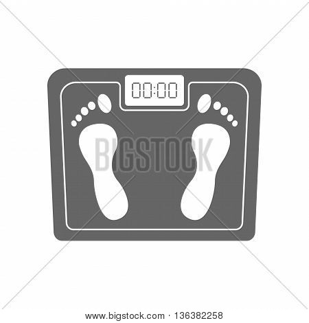 Scales icon isolated on white background. Personal human scales overweight, dieting healthcare balance object. Body measure scales icon lifestyle fitness measurement instrument.