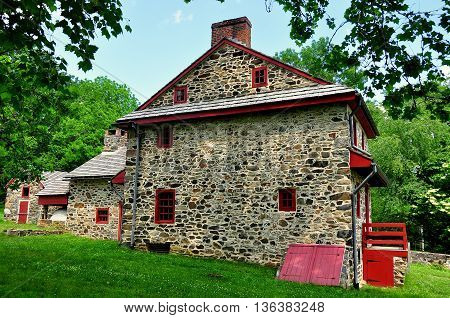 Chadds Ford Pennsylvania - June 9 2015: : Gideon Gilpin House used by the Marquis de Lafayette as his headquarters during the 1777 Revolutionary War Battle of the Brandywine *