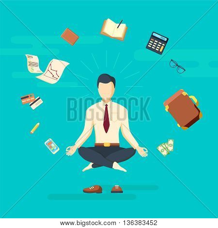 Businessman doing business yoga in lotus pose. Vector illustration